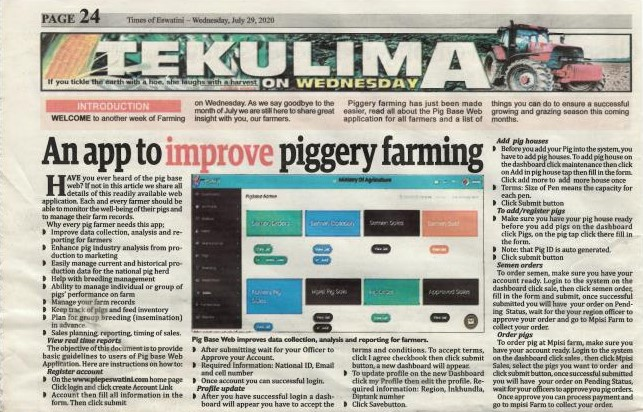The TaiwanICDF Introduces an Online Piggery Management System in Eswatini to Assist Pig Industry Development